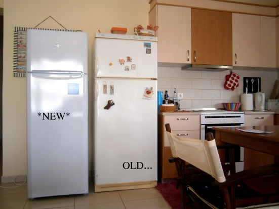 new and old fridge