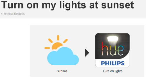 Turn on my lights IFTTT recipe