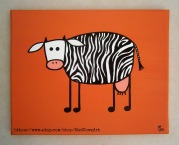 Zebra Cow Mad Cowz Art