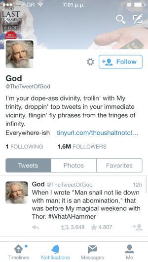 God on twitter